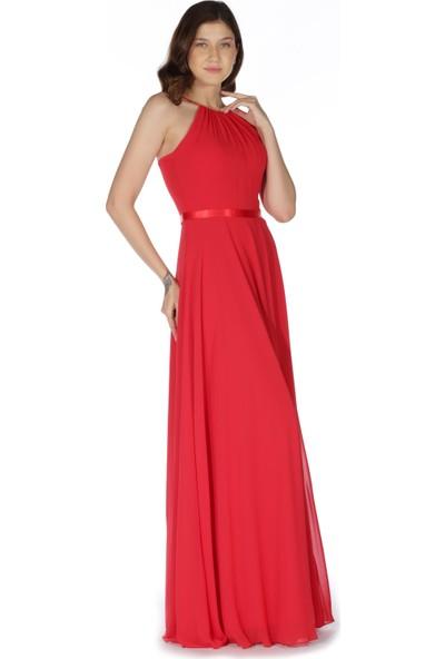 6Ixty8Ight Kırmızı Saten Bantlı Uzun Abiye Elbise