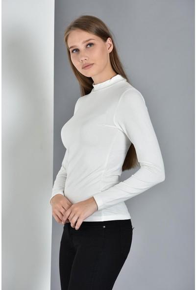 Pousse Collection Kadın Ekru Uzun Kollu Balıkçı Yaka Sweatshirt 10304