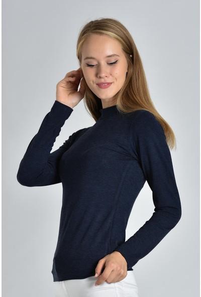 Pousse Collection Kadın Lacivert Uzun Kollu Balıkçı Yaka Sweatshirt 10304