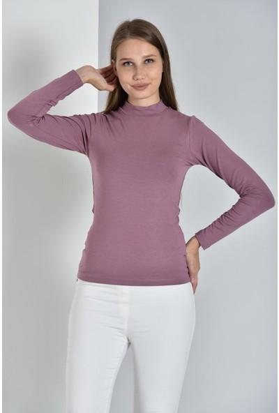 Pousse Collection Kadın Gül Kurusu Uzun Kollu Balıkçı Yaka Sweatshirt 10304