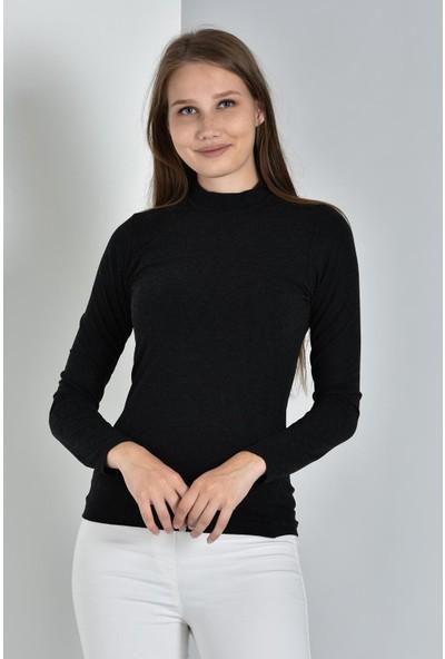 Pousse Collection Kadın Siyah Uzun Kollu Balıkçı Yaka Sweatshirt 10304
