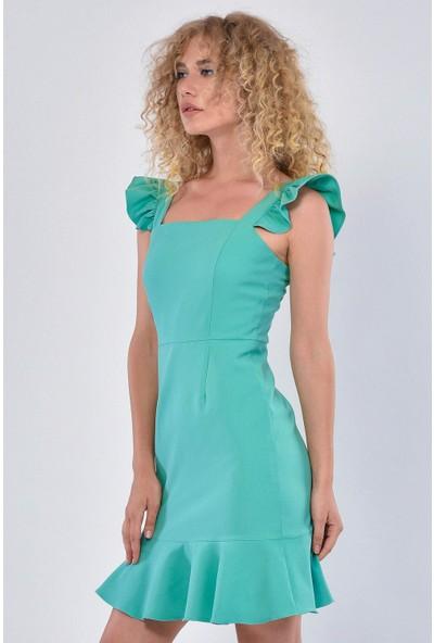 Fashion Light Kadın Mint Kolları Volanlı Elbise FL0029