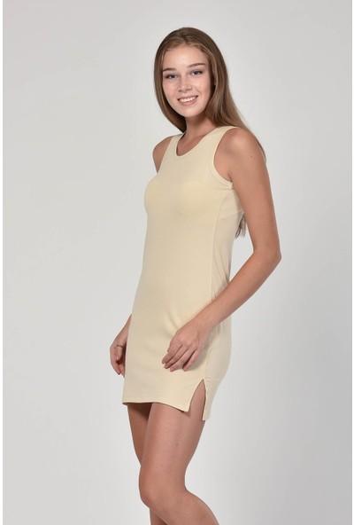 Sprout Kadın Taş Rengi U Yaka Basic Elbise 10300