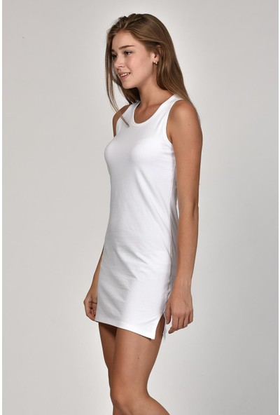 Sprout Kadın Beyaz U Yaka Basic Elbise 10300
