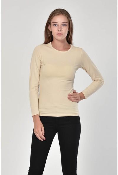 Sprout Kadın Taş Rengi Uzun Kollu Basic Sweatshirt 10303