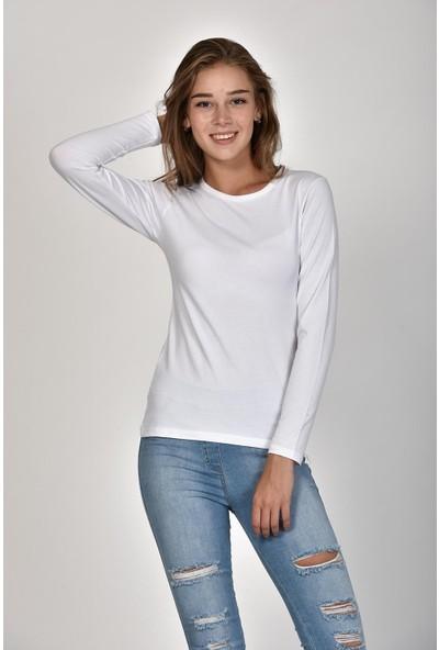 Sprout Kadın Beyaz Uzun Kollu Basic Sweatshirt 10303
