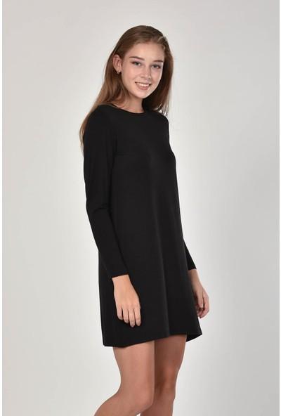 Pousse Collection Kadın Siyah Sıfır Yaka Basic Tunik 10645
