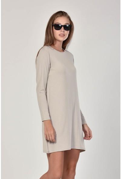Pousse Collection Kadın Taş Rengi Sıfır Yaka Basic Tunik 10645
