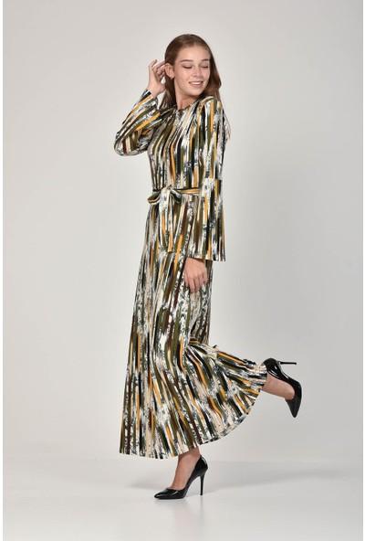 Pousse Collection Kadın Haki Çizgi Desenli Elbise 10680