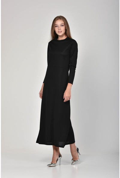 Pousse Collection Kadın Siyah Sıfır Yaka Elbise 10605