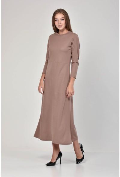 Pousse Collection Kadın Toprak Rengi Sıfır Yaka Elbise 10605