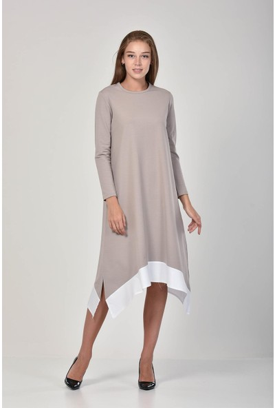Pousse Collection Kadın Taş Rengi Garnili Yırtmaç Detaylı Elbise 10675