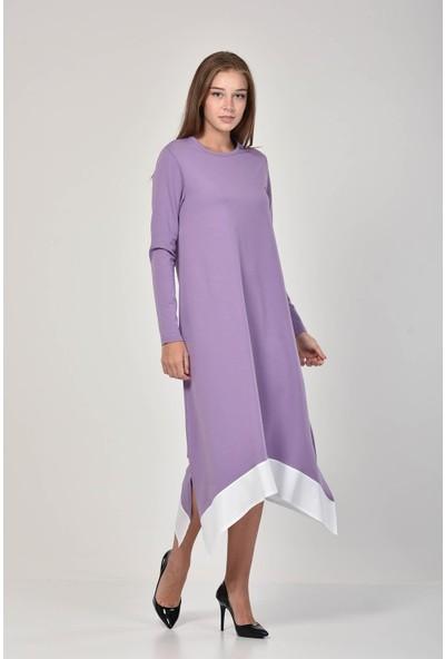 Pousse Collection Kadın Lila Garnili Yırtmaç Detaylı Elbise 10675