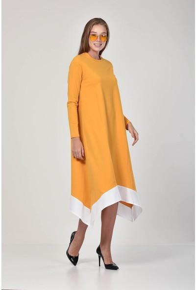 Pousse Collection Kadın Safran Rengi Garnili Yırtmaç Detaylı Elbise 10675