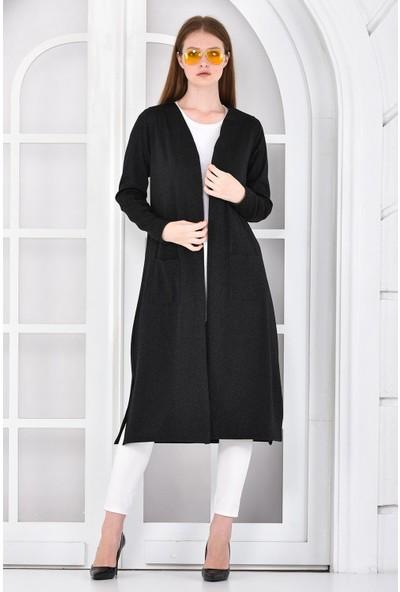 Pousse Collection Kadın Siyah Simli Cepli Uzun Hırka 10610