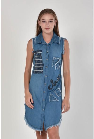 Miss Benim Kadın Mavi Püsküllü Denim Elbise MBN0002