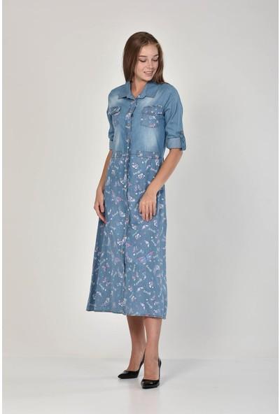 Miss Benim Kadın Mavi Göğsü Cepli Kelebek Desenli Denim Elbise MBN0008D1