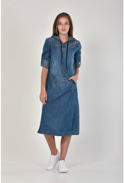 Miss Benim Kadın Mavi Kuşgözü Detaylı Denim Elbise MBN0009