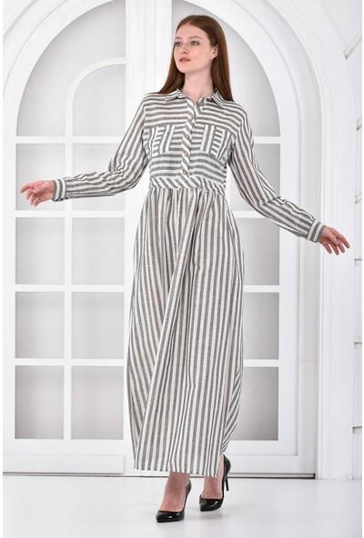 Neva Kadın Lacivert Çizgili Elbise NV4007