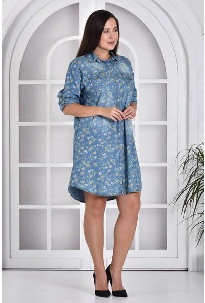 Miss Benim Kadın Mavi Çiçek Desenli Denim Büyük Beden Elbise MBB0003D5