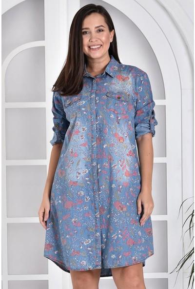 Miss Benim Kadın Mavi Çiçek Desenli Denim Büyük Beden Elbise MBB0003D7