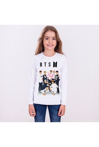 TakeTshirt Bts Çocuk T-shirt Uzun Kollu Beyaz Unisex