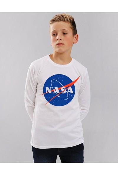 TakeTshirt Nasa Çocuk T-shirt Uzun Kollu Beyaz Unisex