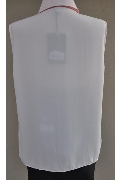 Lefon Kolsuz Fularlı Pembe Gömlek