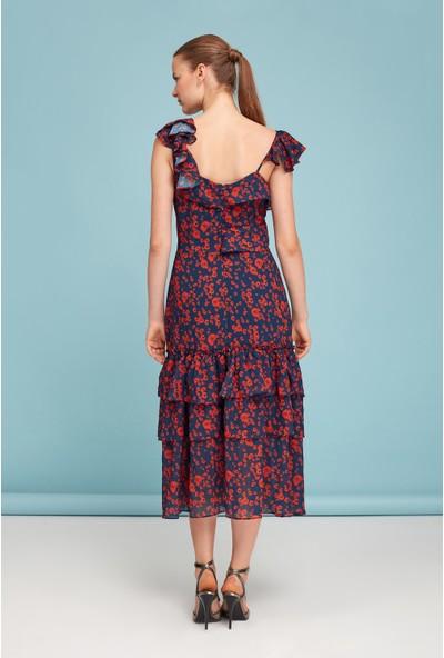 Lefon Kadın Kırmızı Çiçekli Elbise