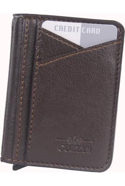 Pehlivan Guzzy Mekanızmalı Cüzdan Kartlık Deri Kahverengi G001