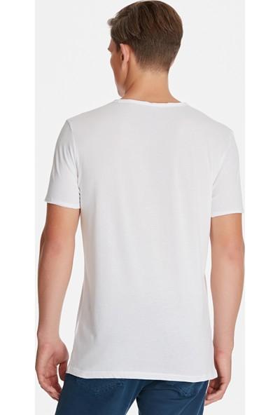 Mavi Beyaz Basic Tişört 062772-20843