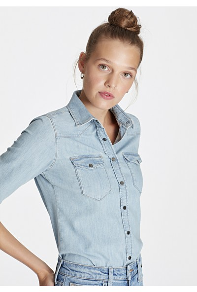 Mavi Kadın Eliza Vintage Jean Gömlek