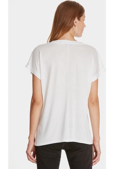 V Yaka Beyaz Basic Tişört 166449-620