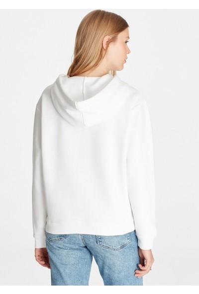 Kapüşonlu Beyaz Sweatshirt 167299-620