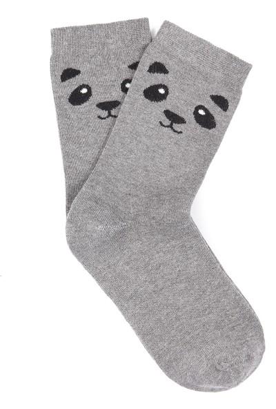 Panda Desenli Gri Çorap 195151-27063