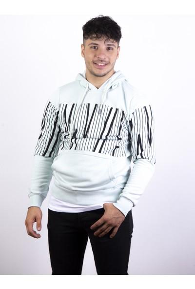 Densmood Erkek Beyaz Çizgili Kapüşonlu Sweatshirt