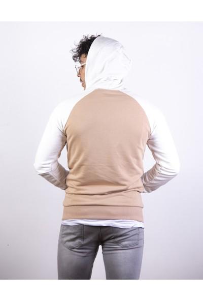 Densmood Erkek Krem ve Beyaz Kapüşonlu Sweatshirt