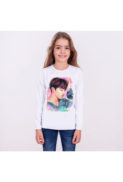 TakeTshirt Bts Jungkook Çocuk T-shirt Uzun Kollu Beyaz Unisex