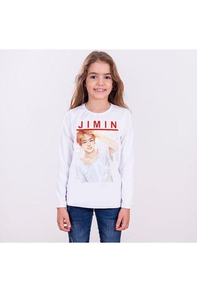 TakeTshirt Bts Jimin Çocuk T-shirt Uzun Kollu Beyaz Unisex