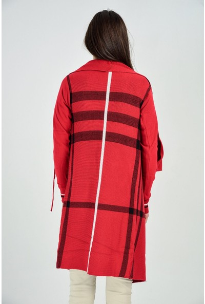 Sense Kadın Kırmızı Siyah Kollar Fitilli Ekose Hırka Trk18013