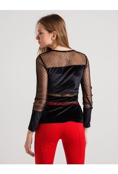 Sense Kadın Siyah Tül Detaylı Kadife Bluz Bluz Blz31074