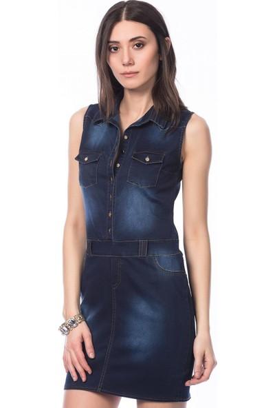 Sense Kadın Siyah Gömlek Yakalı Cepli Elbise Elb11933