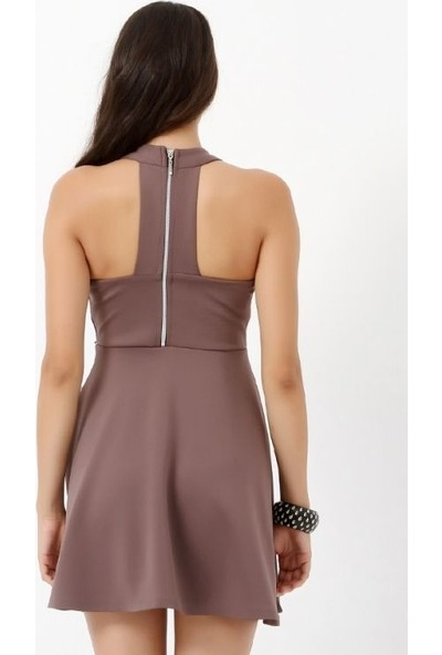 Sense Kadın Vizon Arkası Metal Fermuar Detayli Elbise Elb13882