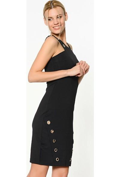 Sense Kadın Siyah Kolsuz Hsvuz Yaka Sırtı Fermuarlı Kusgozlu Elbise Elb14546