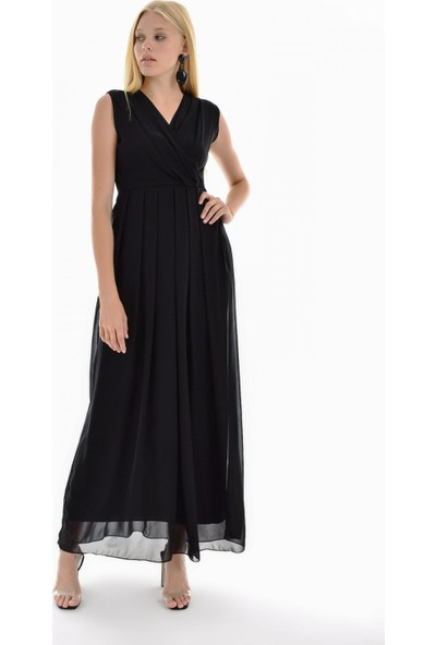 Sense Kadın Siyah İci Astarlı Uzun Şifon Elbise Elb31543