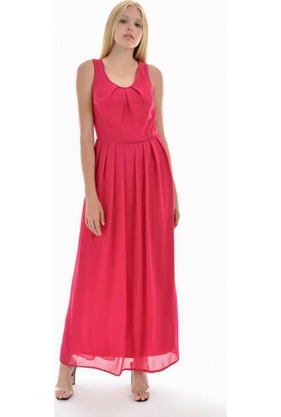 Sense Kadın Fuşya Astarlı Etek Pileli Şifon Elbise Elb31621