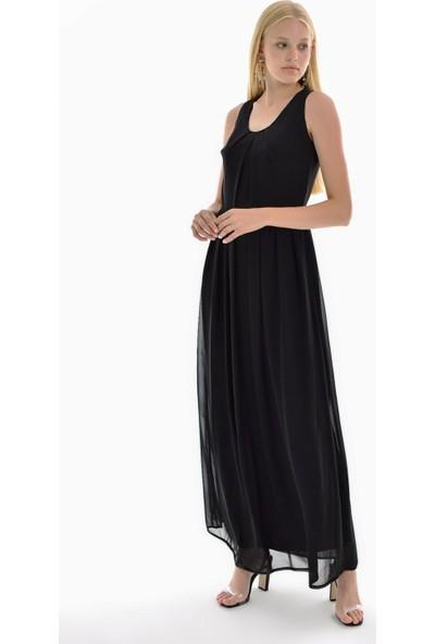 Sense Kadın Siyah Astarlı Etek Pileli Şifon Elbise Elb31621