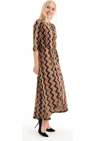 Sense Kadın Zikzak Desenli Elbise Elb31803