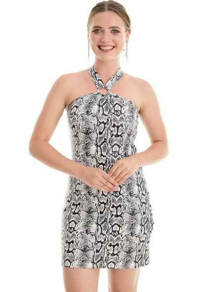 Sense Kadın Siyah Çapraz Askılı Arkası Tokalı Elbise Elb32079