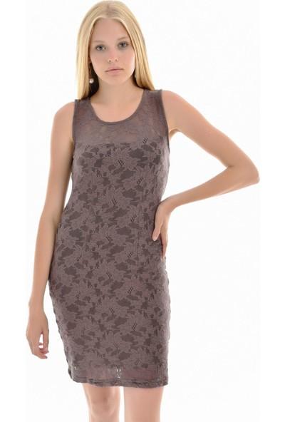 Sense Kadın K. Vizon Robalı Dantel Elbise Blz32187